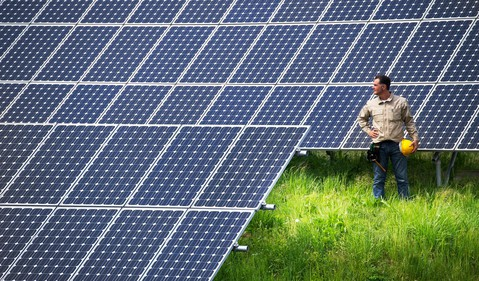 Worker looking at solar panels