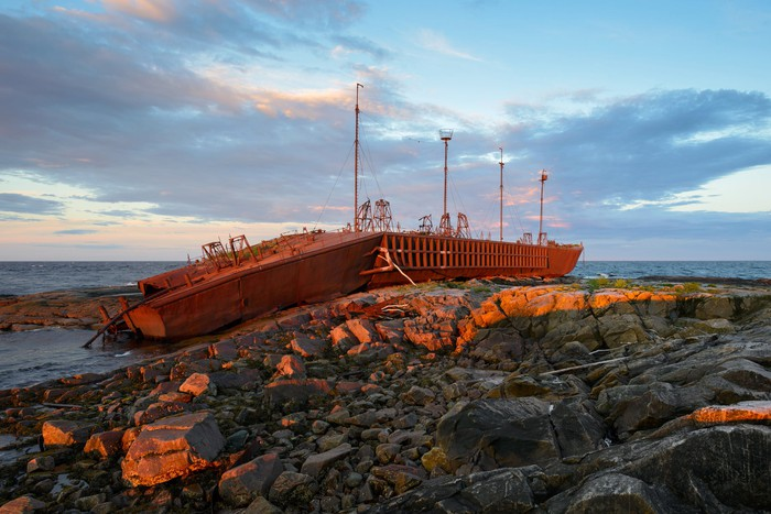A tanker that has run aground on a reef.