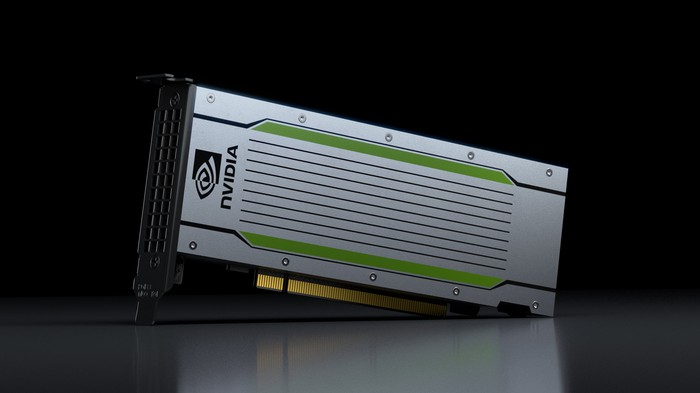 A graphics processing unit with the NVIDIA logo displayed on the side.