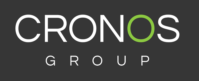 White words Cronos Group with a green O on a black background.