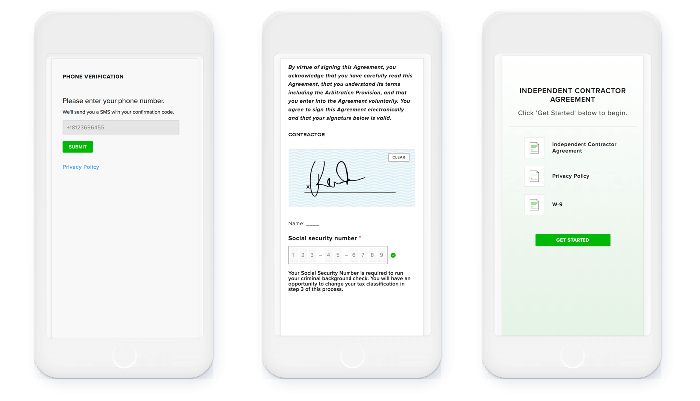 Instacart employee agreement via HelloSign on a mobile phone