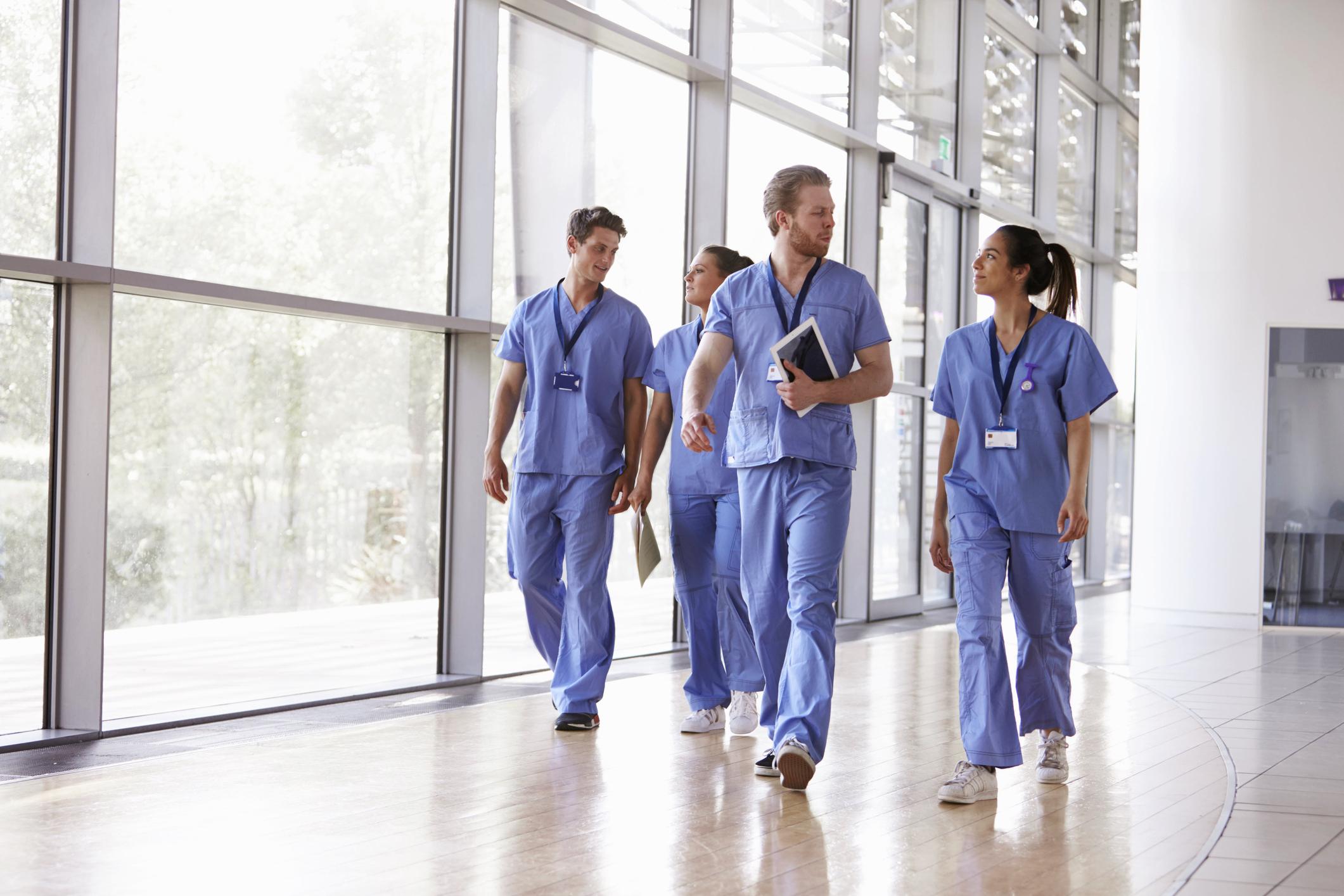 Medical professionals walking together