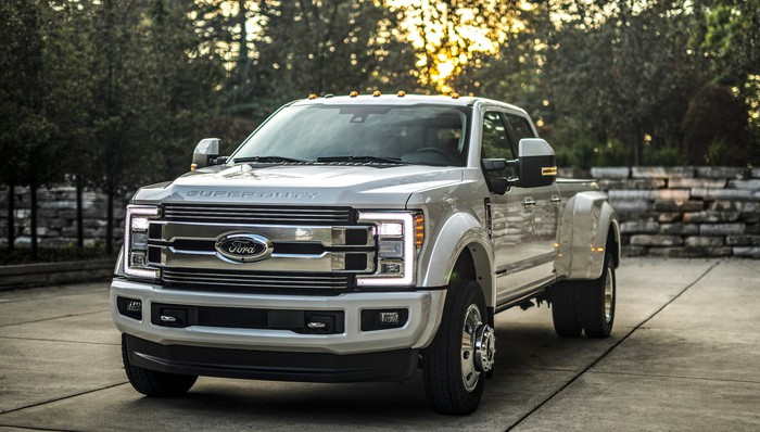 A white Ford F-Series Super Duty Limited, a luxurious version of Ford's heavy-duty full-size pickup truck.