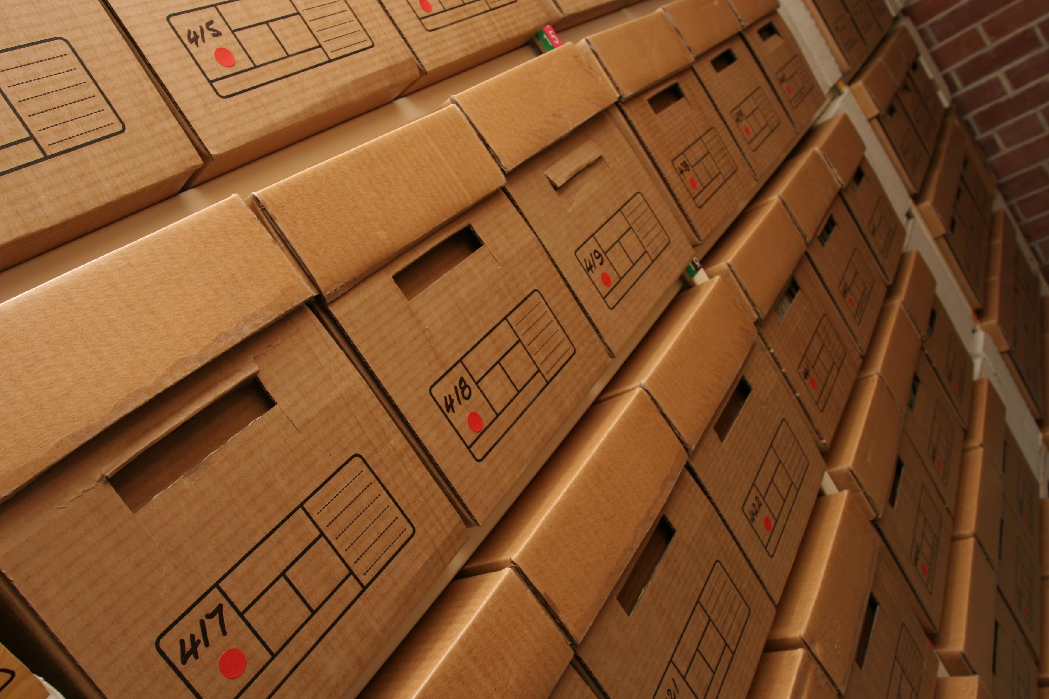 Stacks of cardboard storage boxes.