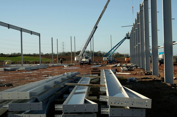 Steel beams at a construction site.