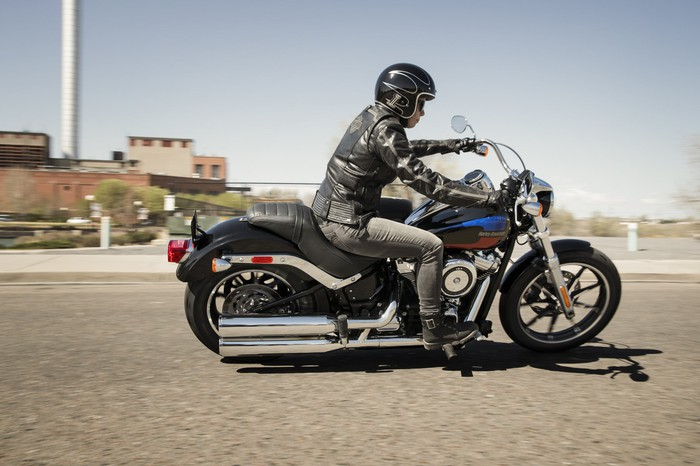 Man riding a Harley-Davidson Softail Low Rider