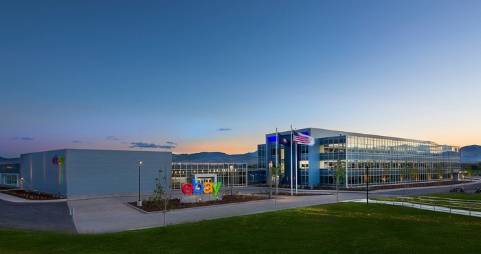eBay building with colorful company logo in front
