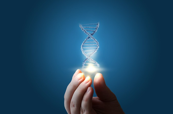 DNA helix floating above a person's fingers.