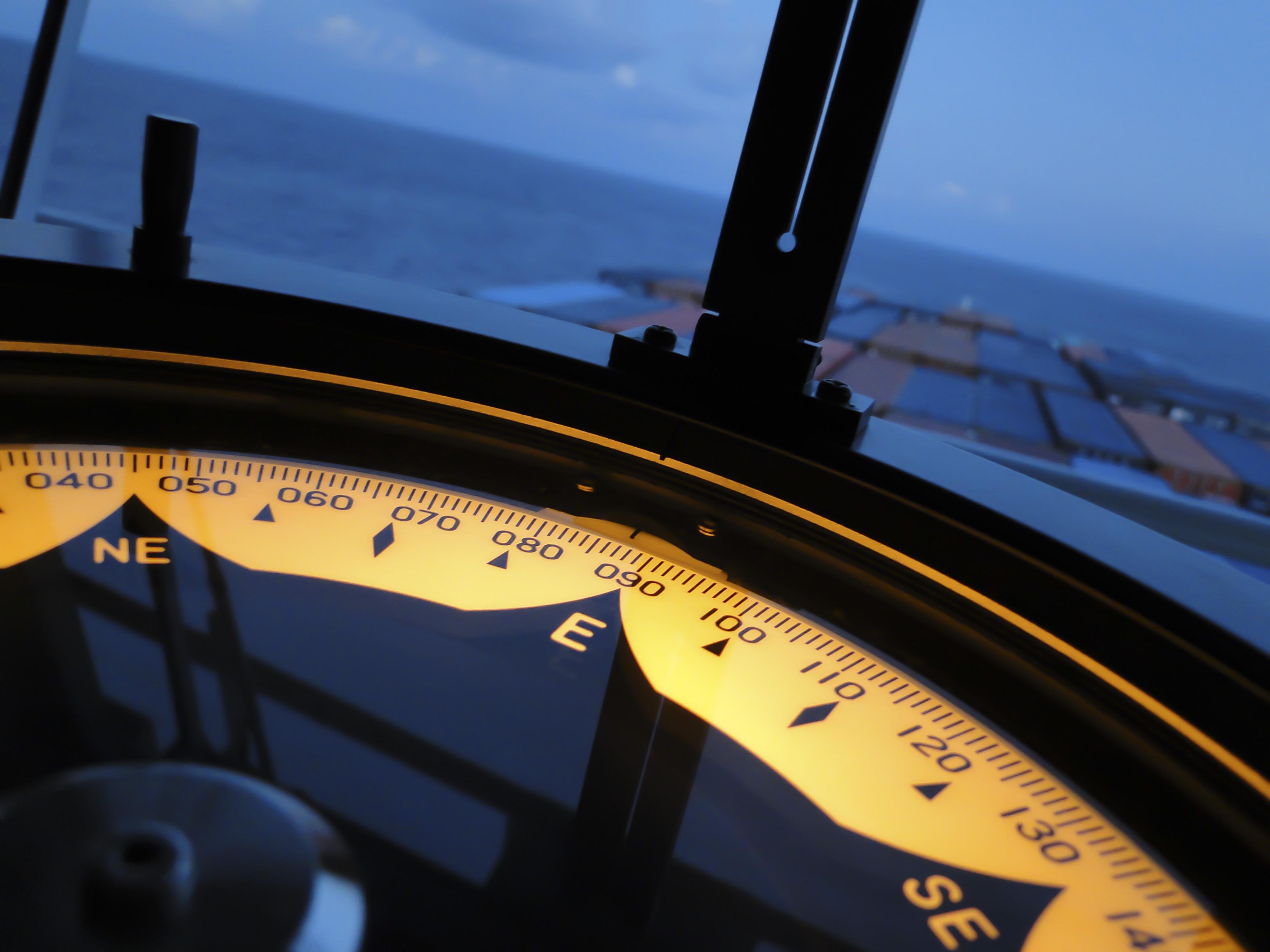 Marine gyro compass aboard ocean freighter.