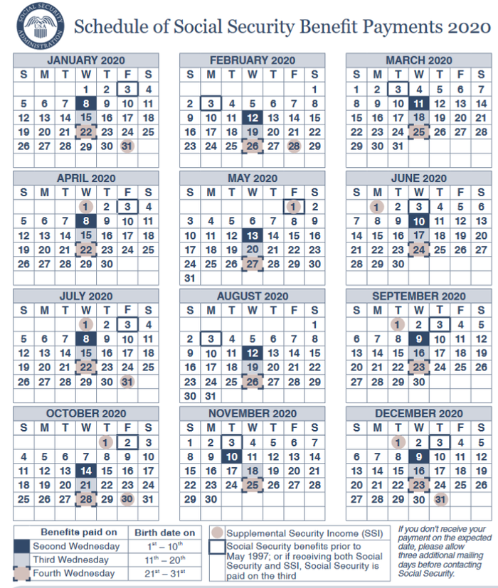 Social Security Benefits Calendar 2020 2020 Social Security Payments Schedule: When Will You Get Paid