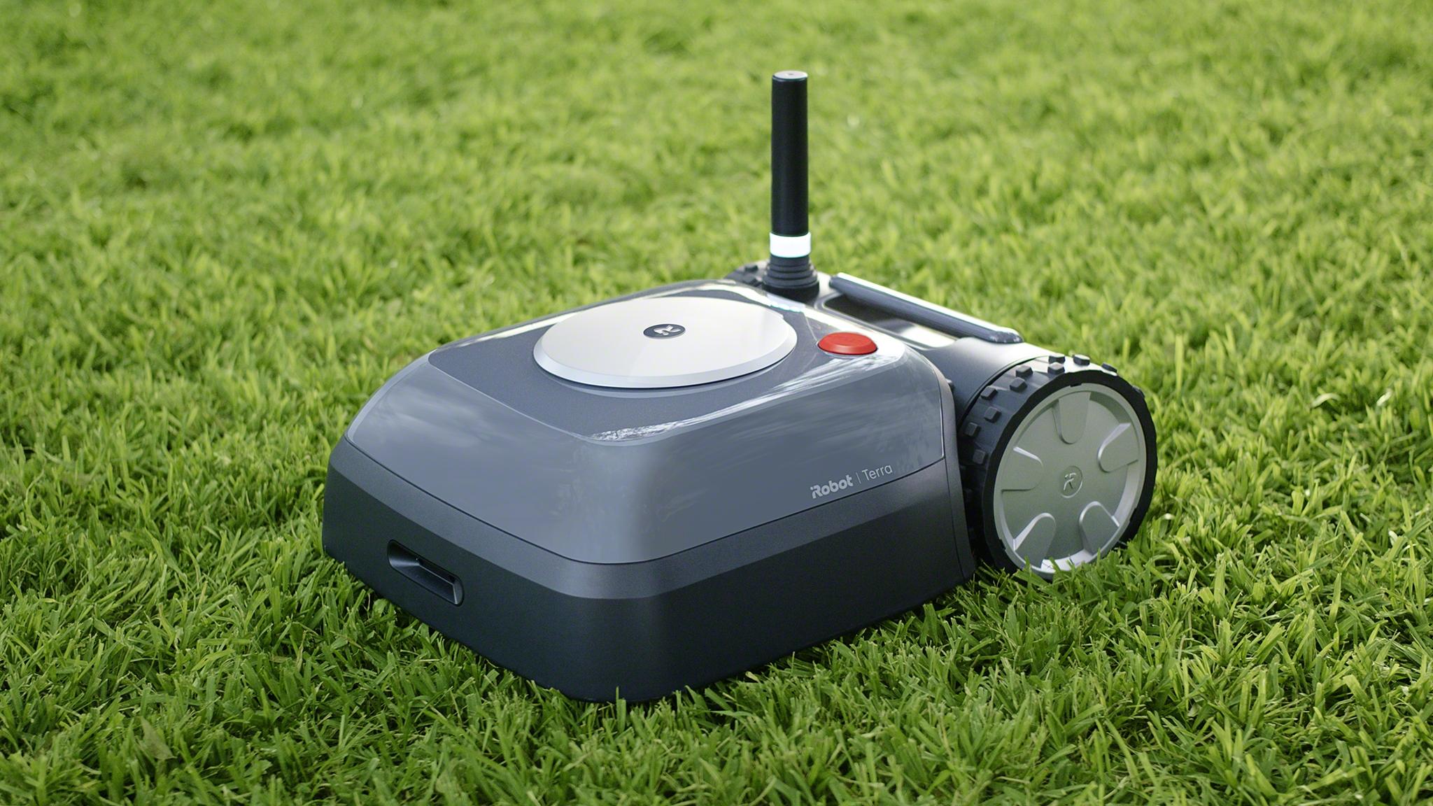 iRobot's new Terra Lawn mower in short green grass
