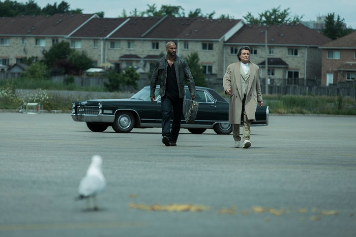Two men walking across an empty parking lot with a car in the background and a seagull in the foreground