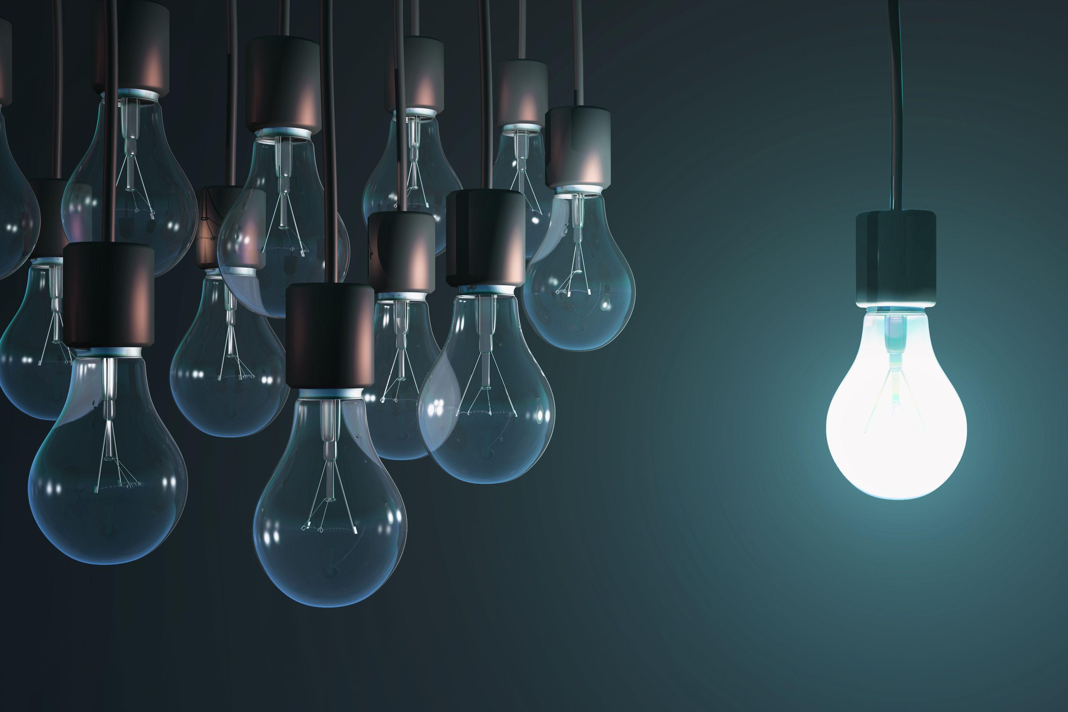 A lit bulb hanging near a group of unlit bulbs.