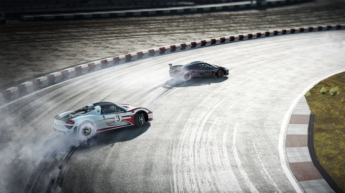 A screenshot from the Grand Tour game, showing two supercars drifting around a corner on a track
