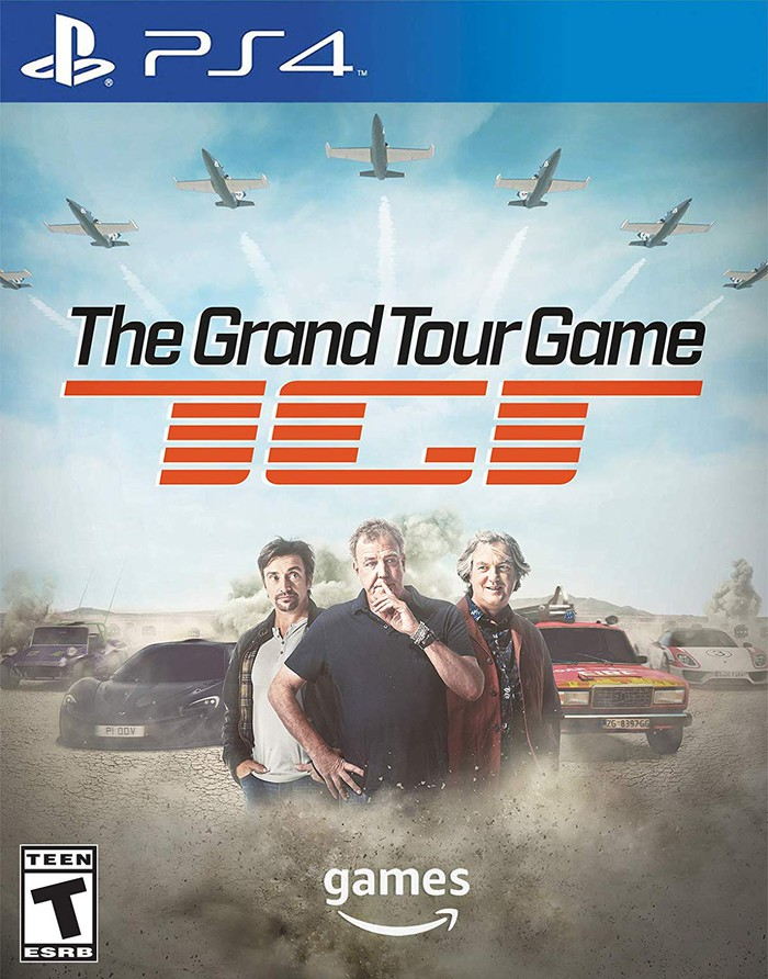 The Grand Tour Game box with the show's three hosts pictured on the front and various cars in the background