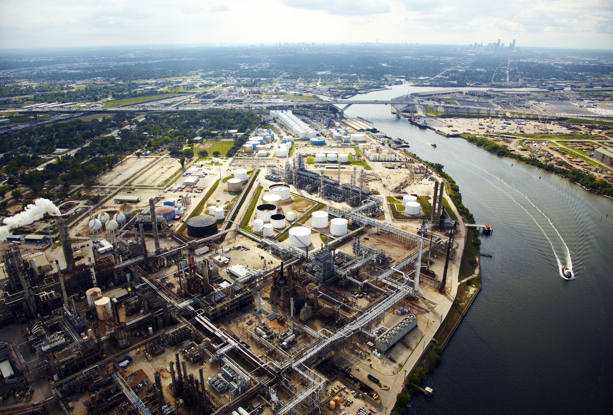 Overhsad shot of oil refinery.
