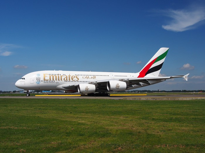 An Emirates A380 on a taxiway