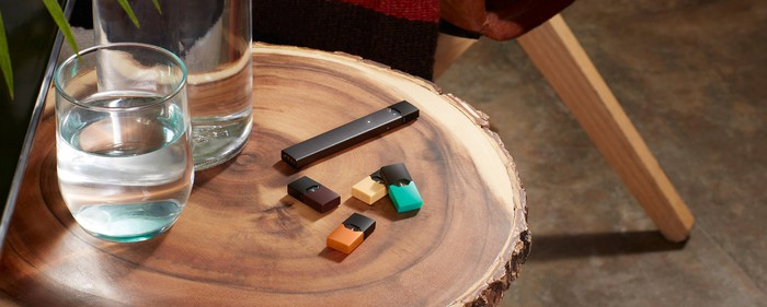 A Juul Labs e-cig and flavor pods
