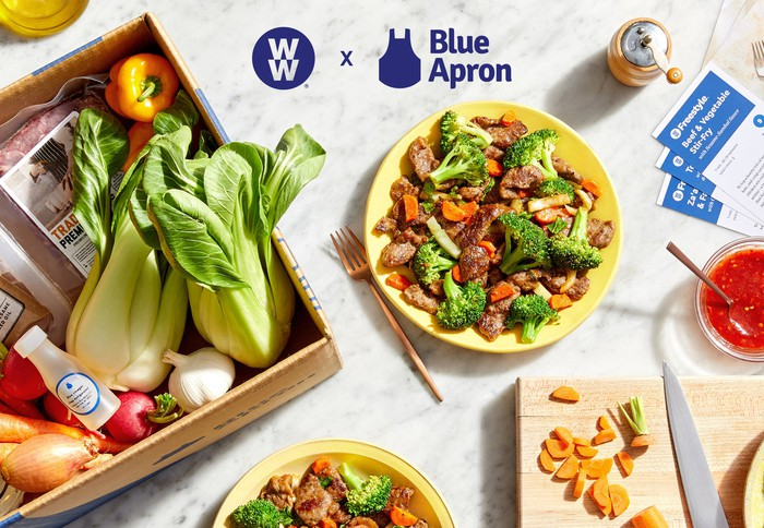 A Blue Apron meal kit for WW members