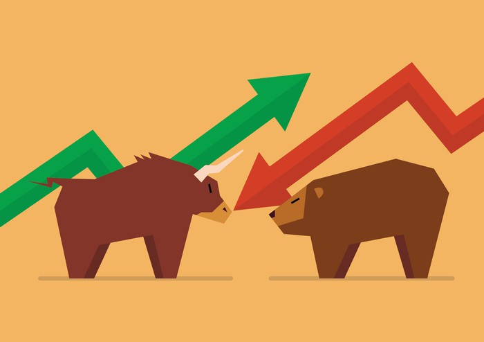 Bull and bear figures face off under stock arrows
