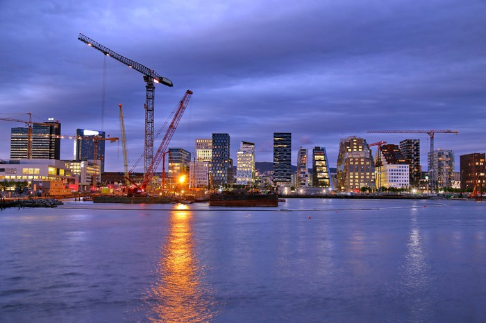 Oslo city skyline at night.