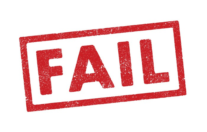 The word fail stamped in red letters