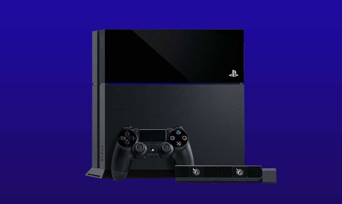 Sony Playstation with controller against a purple background.