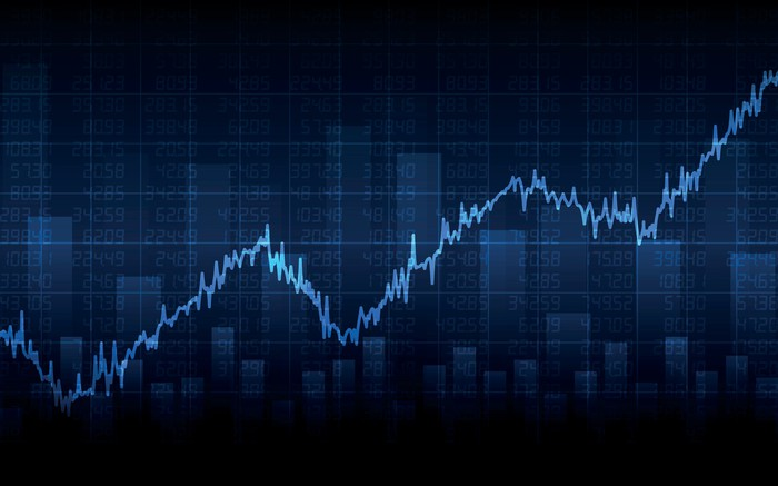 Blue stock market chart indicating gains on a dark blue and black background