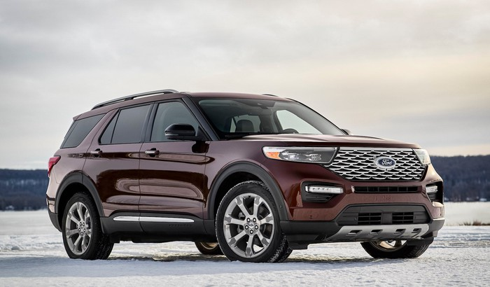 A dark red 2020 Ford Explorer Limited, a 7-passenger midsize crossover SUV.