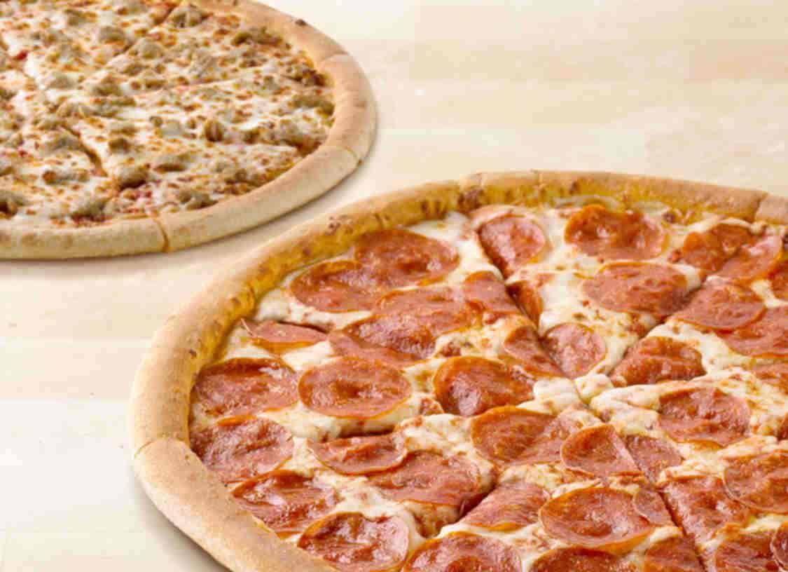 Two Papa John's pizzas.