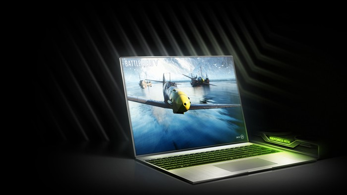 An NVIDIA laptop with its RTX GPUs.