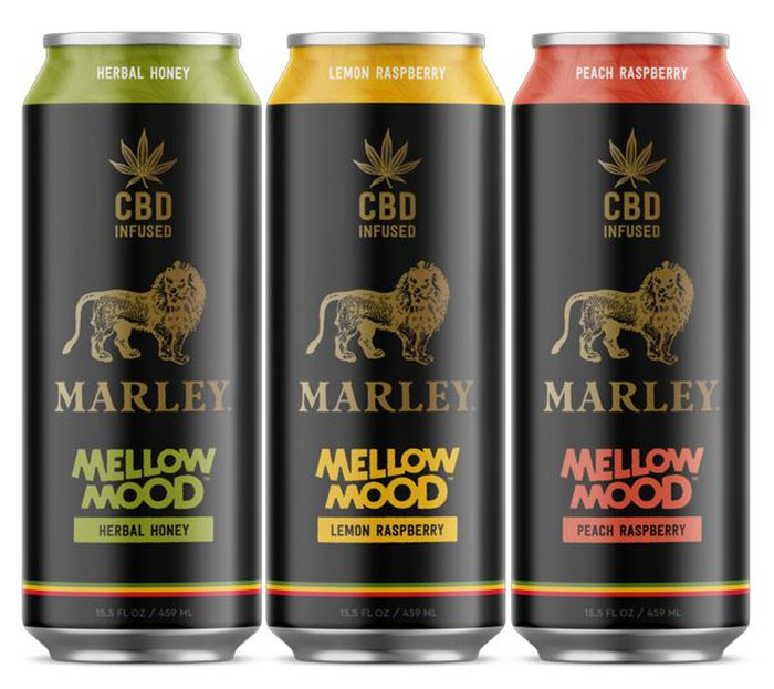 Three cans of Marley Mellow Mood CBD-infused beverages -- herbal honey, lemon raspberry, and peach raspberry.