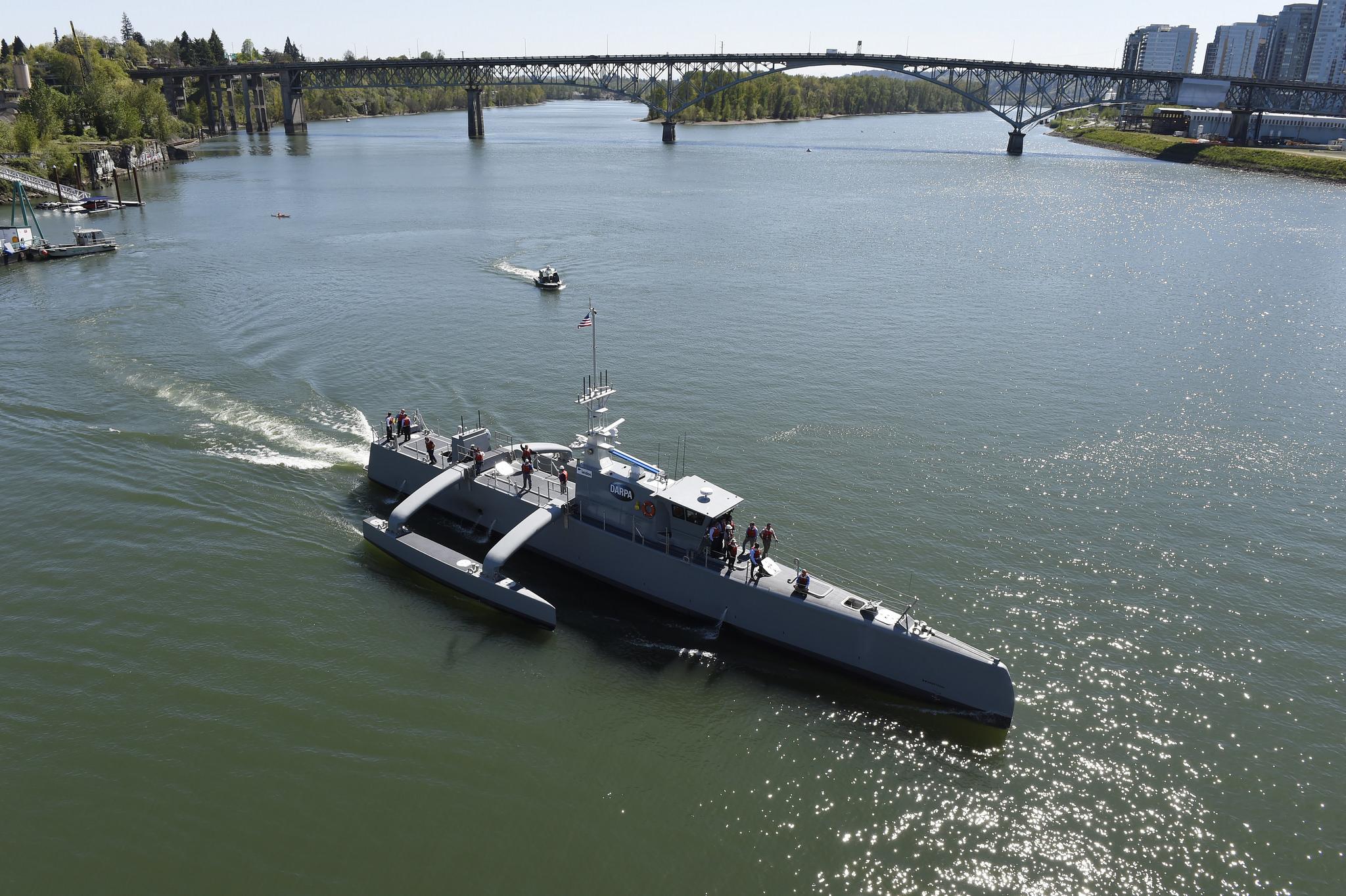 The Sea Hunter makes a turn on the Willamette River in Portland, Ore.