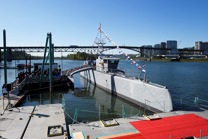 The Sea Hunter at dock in Portland, Ore.