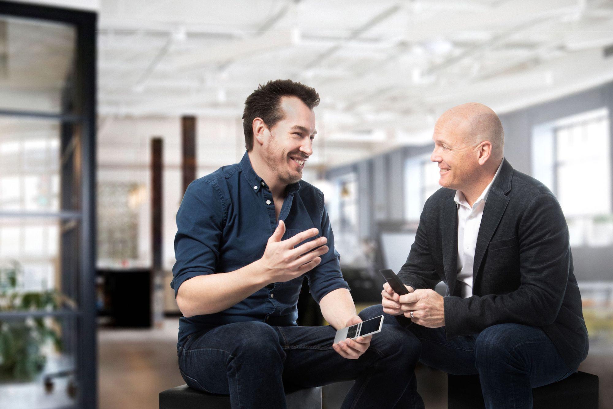 Raphael Oberholzer and Charlie Kindel sitting and talking