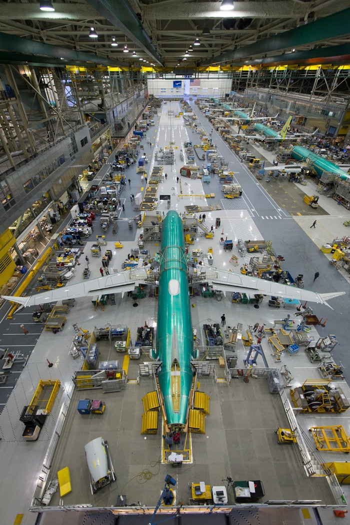 Boeing 737s being assembled in a factory