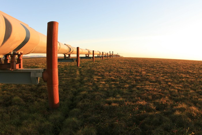 An oil pipeline heading over the horizon.