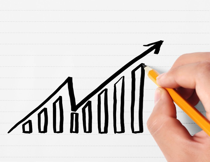 A person drawing a chart that rises, then falls, and then rises again
