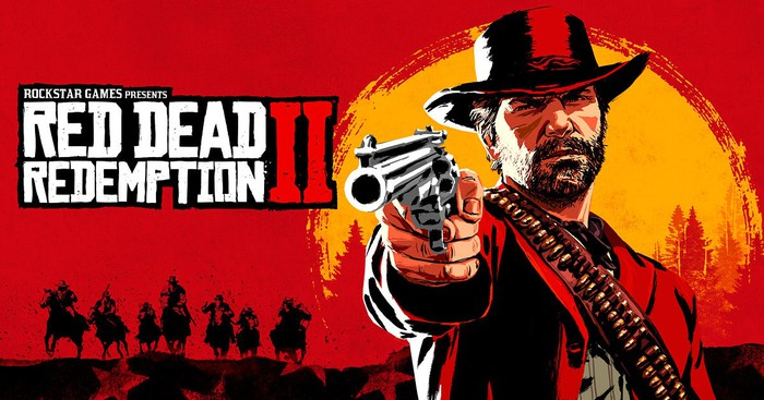 Illustration of a person wearing hat and ammo belt holding up a gun, next to Red Dead Redemption II logo