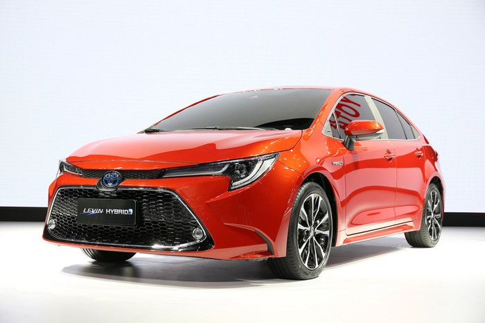An orange 2019 Toyota Levin, a sporty version of the compact Corolla sedan