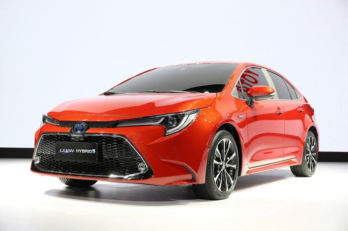 An orange 2019 Toyota Levin, a sporty version of the compact Corolla sedan