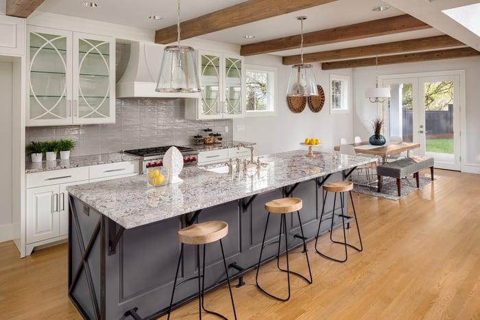 Inside a luxury kitchen.