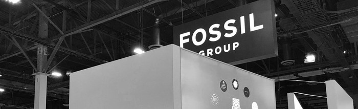 "A ""Fossil Group"" sign at its booth at the Consumer Electronics Show in January."