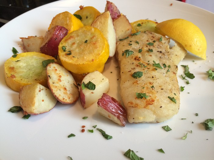 A Blue Apron meal of roasted vegetables and fish
