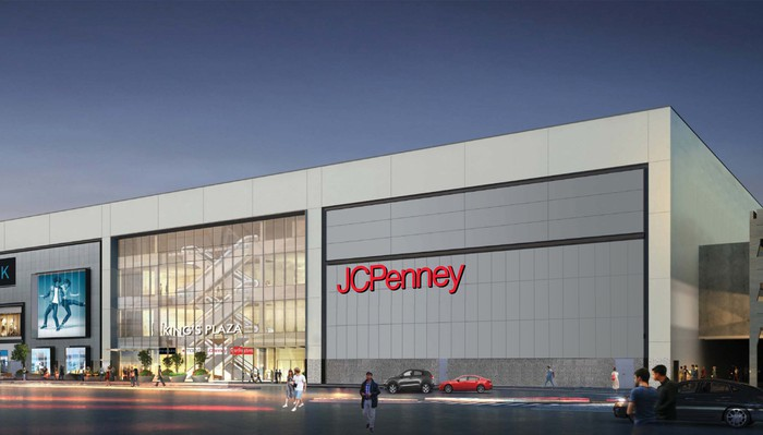 A rendering of the exterior of a JCPenney store.