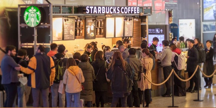Line of People at Starbucks