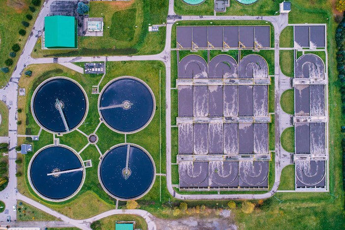 A bird's eye view of a wastewater treatment facility.