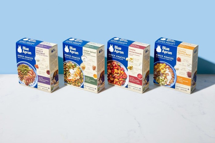 Four boxes of Blue Apron's new line of Knick Knacks meal kits