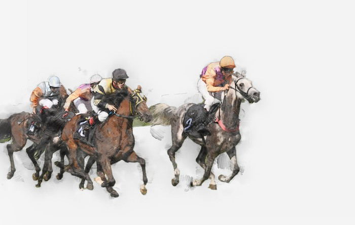 A drawing of jockeys riding horses in a race.