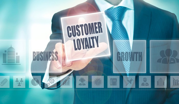 """Businessman pointing to """"Customer Loyalty"""""""